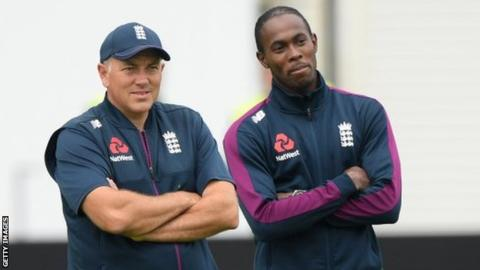 Chris Silverwood and England pace bowler Jofra Archer