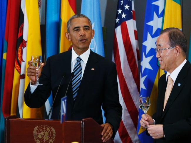 President Obama proposes a toast with UN Secretary General Ban Ki-moon at a luncheon on the sidelines of the 71st session of the United Nations General Assembly in New York. Picture: AFP