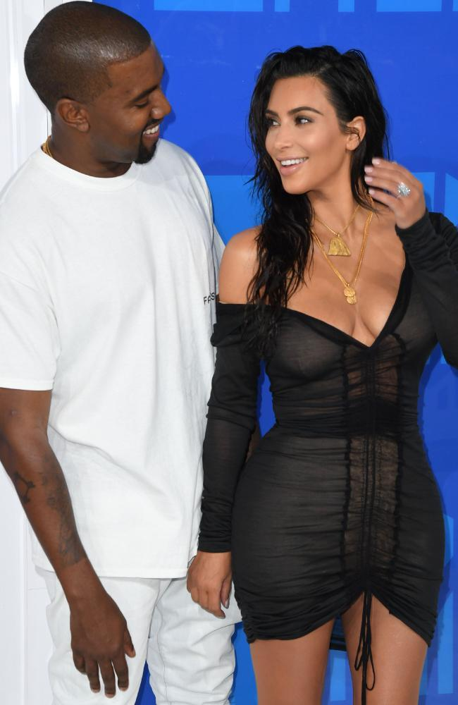 First lady? Kim Kardashian's husband, rapper Kanye West, right, says he wants to run for president in the future. Picture: AFP