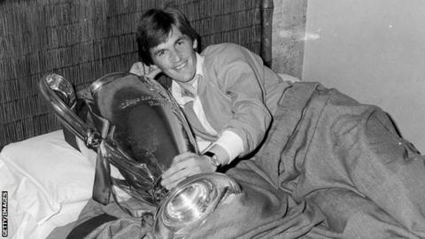 Kenny Dalglish celebrates winning the European Cup with Liverpool in 1978