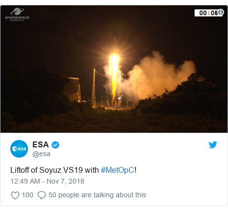 Twitter post by @esa: Liftoff of Soyuz VS19 with #MetOpC!