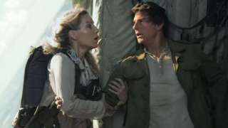 Annabelle Wallis and Tom Cruise scream before Annabelle evacuates the plane
