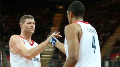 Robert Archibald and Kieron Achara in action for Great Britain