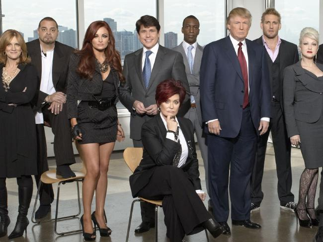 Donald Trump with some of his Celebrity Apprentice contestants including Maria Kanellis (third from left) and Curtis Stone (second from right). Picture: Mitch Haaseth
