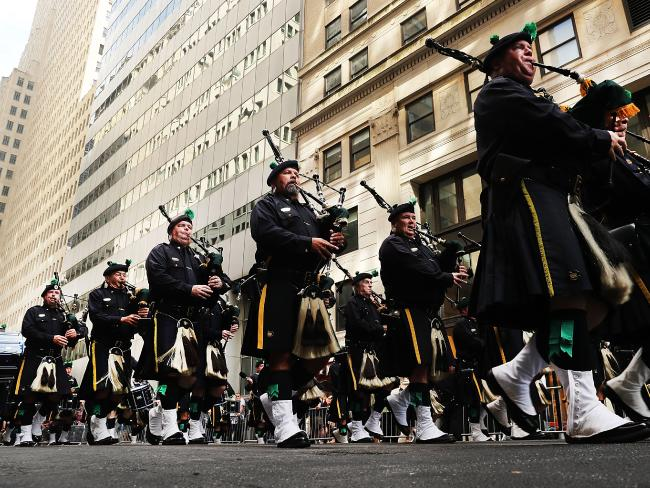 Members of the NYPD Emerald Society Pipes and Drums band march during a procession in Lower Manhattan to mark the 15th anniversary of the 9/11 attacks and the police officers who were killed during and after the event on September 9, 2016 in New York City. Picture: AFP