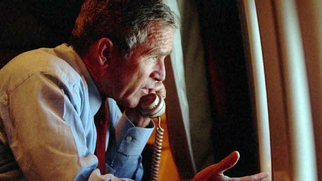 President George W. Bush speaks to Vice President Cheney by phone aboard air force One Sept 11 2001. Picture: AP Pic The White House, Eric Draper