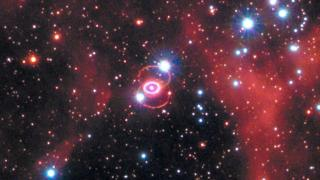 This Hubble Space Telescope image shows Supernova 1987A within the Large Magellanic Cloud