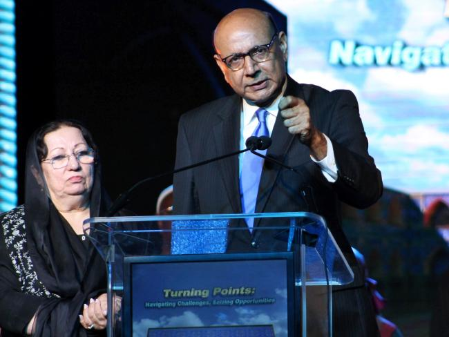 Khizr Khan and his wife Ghazala Khan ended up in a war of words with Republican presidential nominee Donald Trump. Picture: Derek Henkle/AFP