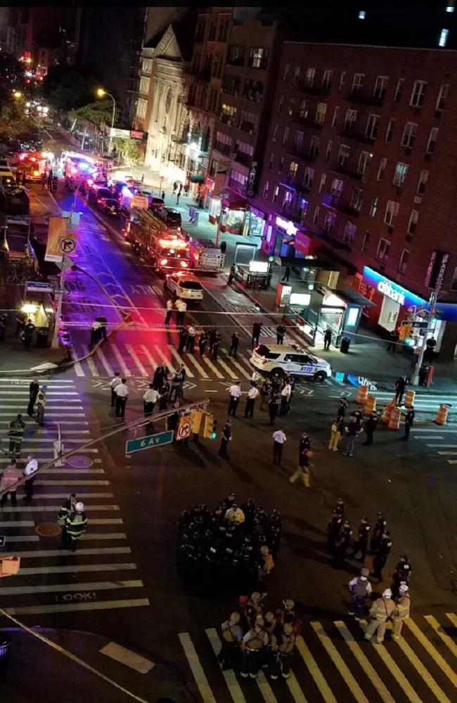 The explosion, said to be an 'intentional act', was outside the Townhouse Inn of Chelsea in Manhattan. Picture: Twitter
