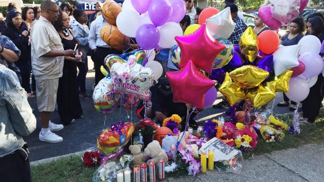 A memorial near the scene where Nisa Mickens and Kayla Cuevas were found dead. Picture: Mike Balsamo