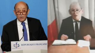 Jean-Yves Le Drian (L) and his impersonator
