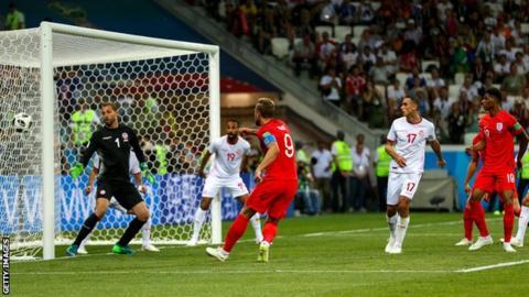 Harry Kane scores for England