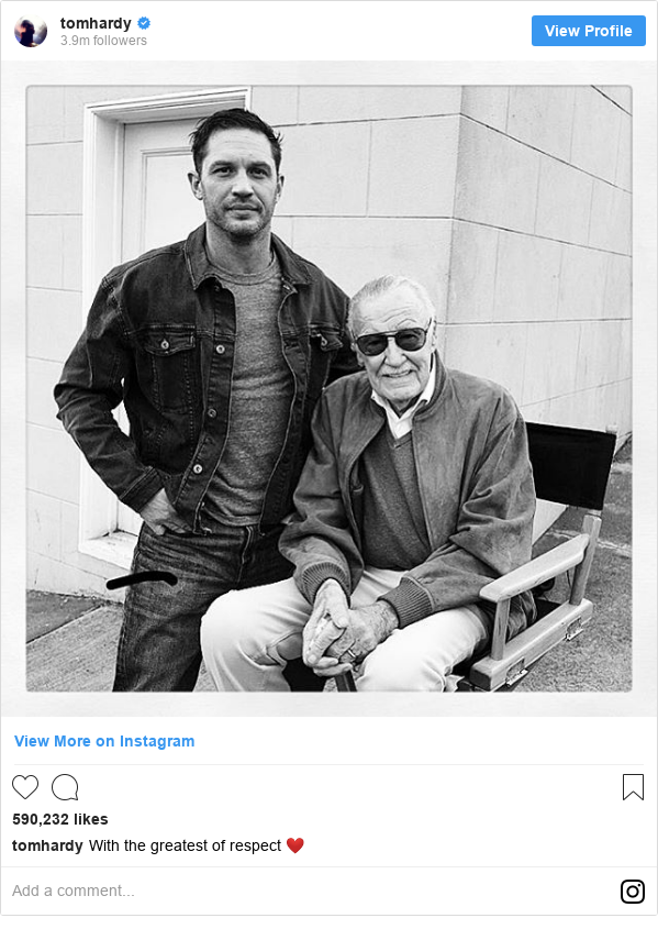 Instagram post by tomhardy: With the greatest of respect ❤️