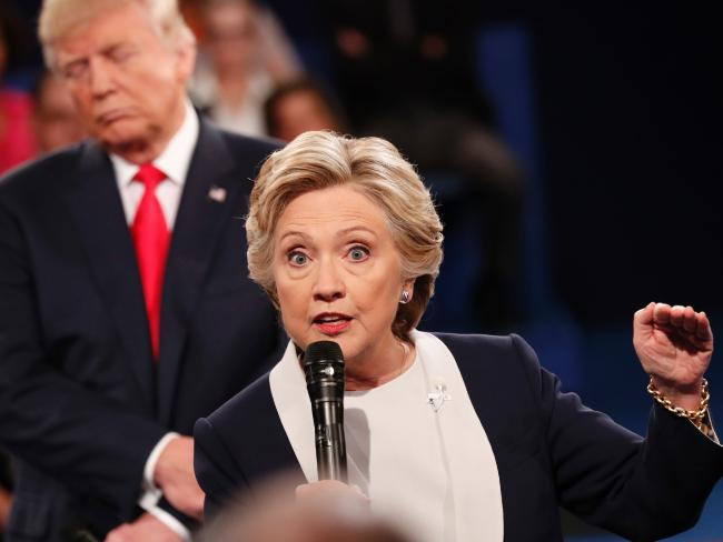 Democratic nominee Hillary Clinton (R) and Republican Presidential nominee Donald Trump participate in the second presidential debate. Picture: AFP