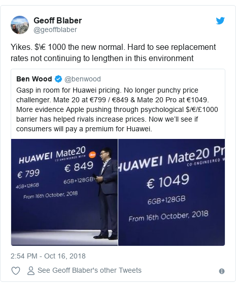 Twitter post by @geoffblaber: Yikes. $€ 1000 the new normal. Hard to see replacement rates not continuing to lengthen in this environment