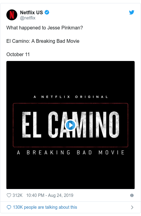 Twitter post by @netflix: What happened to Jesse Pinkman?El Camino  A Breaking Bad MovieOctober 11