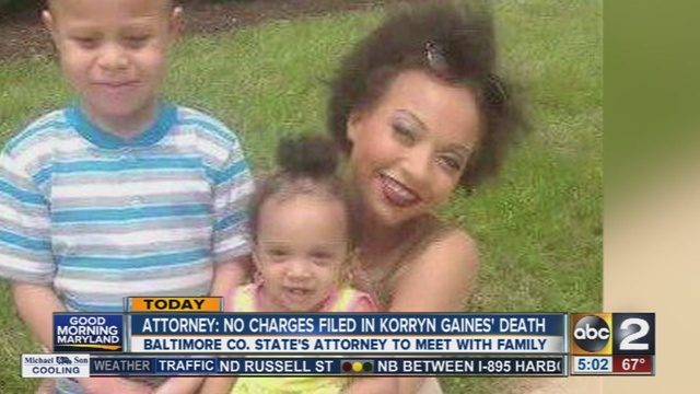 A family attorney says no charges will be filed in the death of Korryn Gaines.                      WMAR