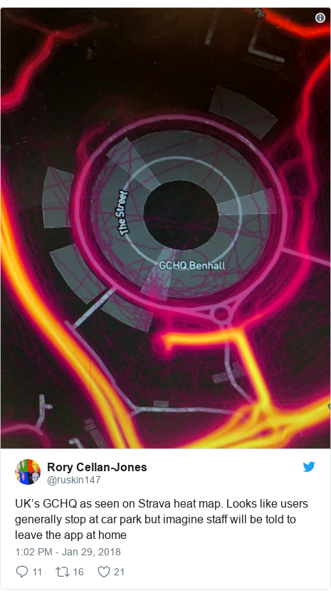 Twitter post by @ruskin147: UK's GCHQ as seen on Strava heat map. Looks like users generally stop at car park but imagine staff will be told to leave the app at home
