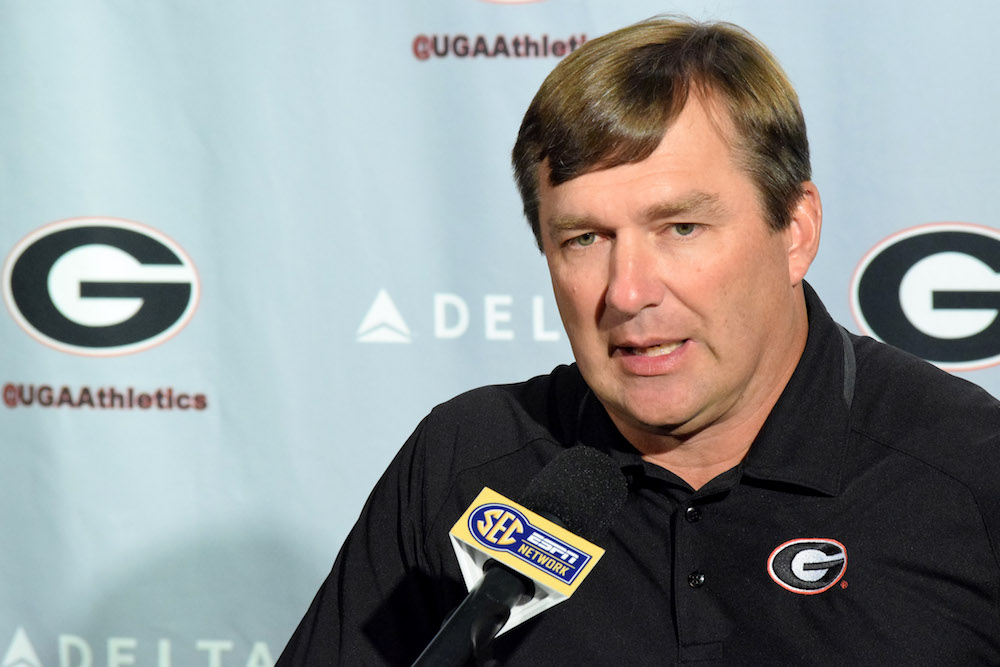 Georgia head coach Kirby Smart answers a question during the Bulldogs#039 press conference at Butts Mehre Heritage Hall in Athens Ga. on Monday Sept. 12 2016