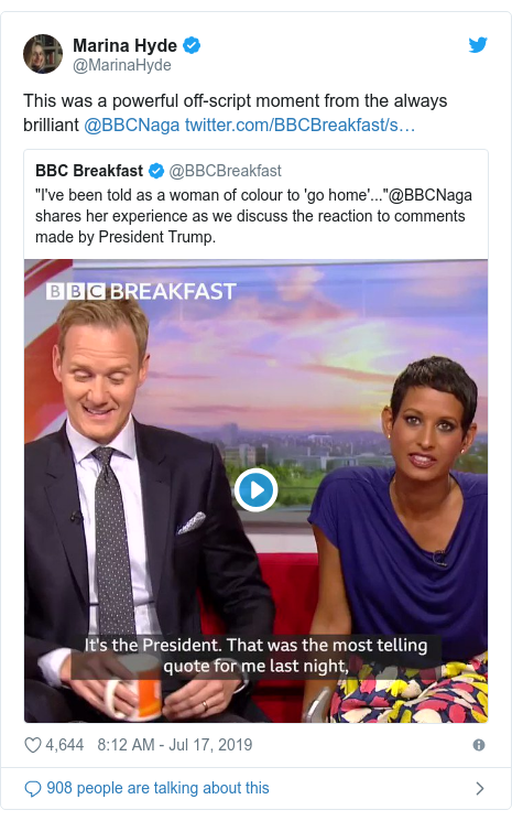 Twitter post by @MarinaHyde: This was a powerful off-script moment from the always brilliant @BBCNaga