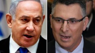 Composite picture showing Israeli Prime Minister Benjamin Netanyahu and Gideon Saar