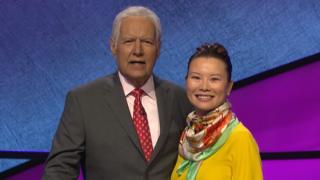 Kristyna Ng with Jeopardy! host Alex Trebek