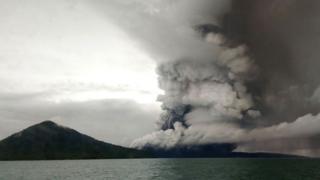 This picture taken on December 26, 2018 shows the Anak (Child) Krakatoa volcano erupting,