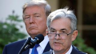 US President Donald Trump looks on as Jerome Powell, his nominee to become chairman of the US Federal Reserve, speaks at the White House on 2 November 2017