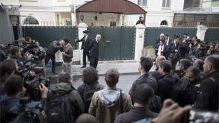 Turkish forensic police arrive to search the Saudi consul's residence in Istanbul following the disappearance of Saudi journalist, Jamal Khashoggi, 16 October 2018