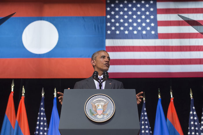 U.S. President Barack Obama speaks Tuesday at the Lao National Cultural Hall in Vientiane Laos. CAROLYN KASTER, THE ASSOCIATED PRESS