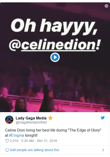 Twitter post by @GagaMediaDotNet: Celine Dion living her best life during The Edge of Glory at #Enigma tonight!