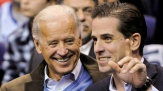 Then-US Vice President Joe Biden and his son Hunter attend an NCAA basketball game in Washington, US, on 30 January, 2010.