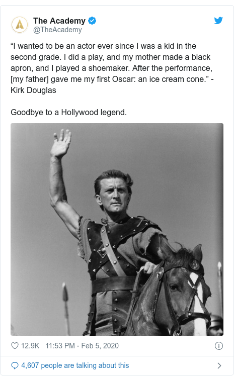 Twitter post by @WilliamShatner: Condolences to the family of Kirk Douglas. What an incredible icon he was in this industry! ?