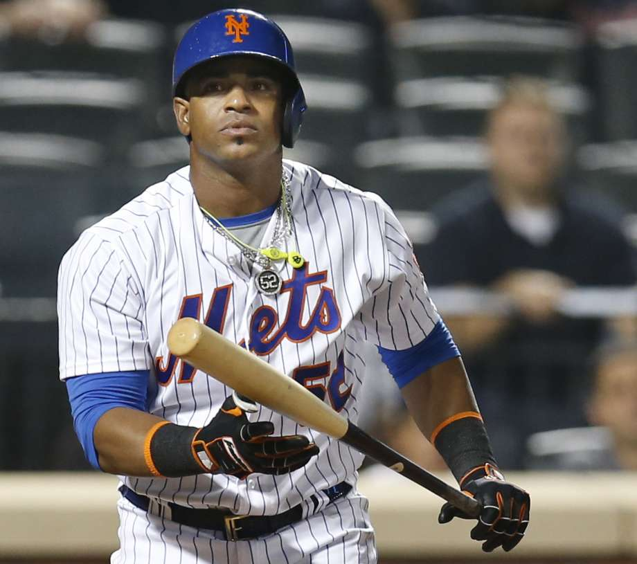 New York Mets Yoenis Cespedes reacts after striking out swinging for the final out with Asdrubal Cabrera at first base in the Mets 5-4 loss to the Atlanta Braves in a baseball game Tuesday Sept. 20 2016 in New York. ORG XMIT