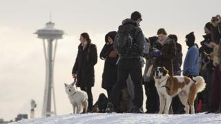 People on top of hill with Seattle Space Needle visible in background