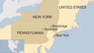 Map showing New York, the village of Woodridge, and Scranton, Pennsylvania