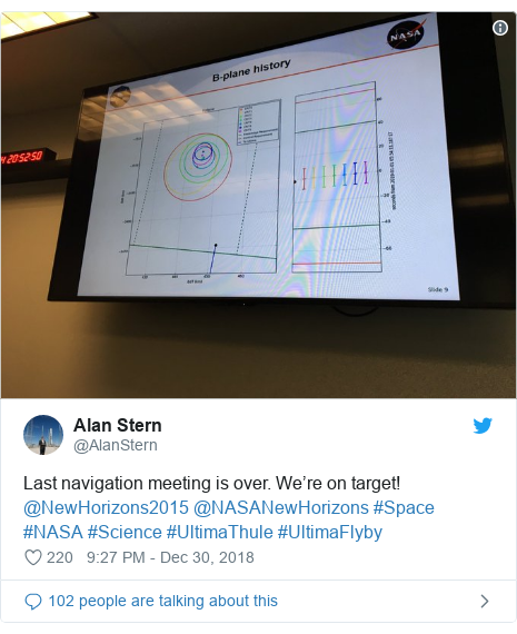 Twitter post by @AlanStern: Last navigation meeting is over. We're on target! @NewHorizons2015 @NASANewHorizons #Space #NASA #Science #UltimaThule #UltimaFlyby