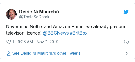 Twitter post by @LizFremantle: Does this #BritBox streaming site mean we have to pya twice for all the #BBC content we have already paid for with our license fees ?