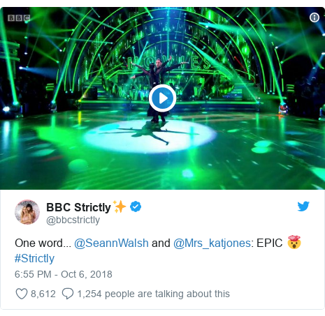 Twitter post by @bbcstrictly: One word... @SeannWalsh and @Mrs_katjones  EPIC ? #Strictly