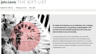 John Lewis gift list