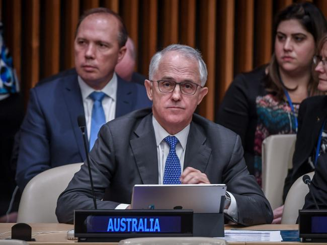 Prime Minister Malcolm Turnbull at the United Nations summit for Refugees and Migrants at the UN headquarters in NYC. Picture: Jake Nowakowski