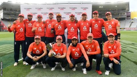 England celebrate a 3-2 series win
