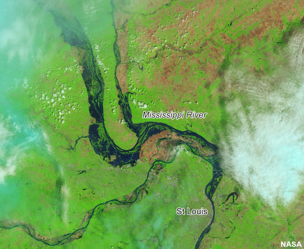 Mississippi River near St Louis after flooding