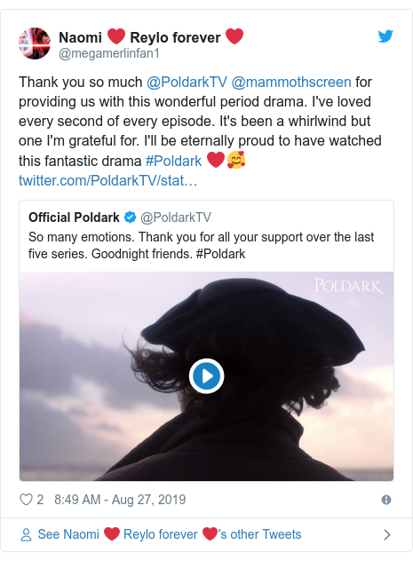 Twitter post by @tuttsweet: Just me disappointed with the ending of #Poldark?Valentine shd have stayed  worked the mine, Geoffrey Charles shd have married his true love as her vile father was in jail, the French farce(for that's what it was) was rushed contrived  stupid. Actors fantastic, writing poor. ☹️