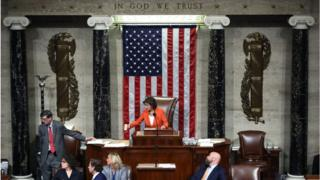 Speaker of the House, Nancy Pelosi presides over the House of Representatives as it votes on a resolution formalising the impeachment inquiry