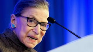 US Supreme Court Justice Ruth Bader Ginsburg speaks after receiving the American Law Institutes Henry J. Friendly Medal in Washington, DC, on May 14, 2018.