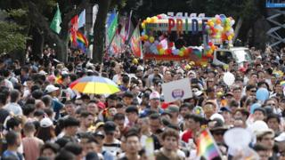 People participate in the annual Pride march in Taipei
