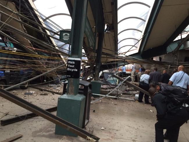In a photo provided by William Sun, structural damage is seen at the train station in Hoboken. Picture: William Sun via AP