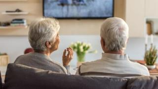 Pensioners watching the TV