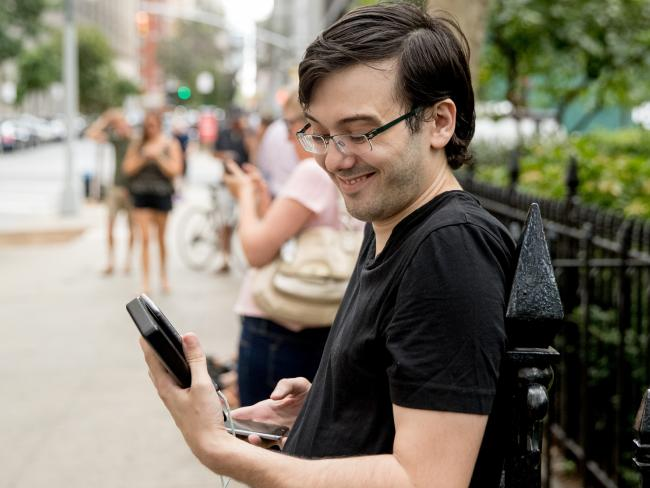 Shkreli is pictured here outside Chelsea Clinton's New York apartment. Picture: AP Photo/Andrew Harnik